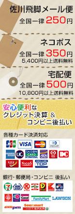 メール便送料 一律280円・宅急便 一律500円・安心便利なクレジット決算&コンビニ後払い